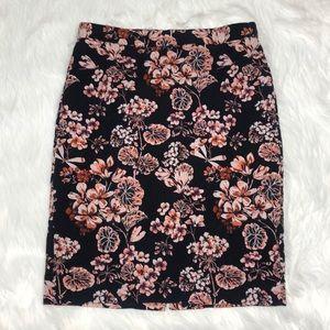 Ann Taylor textured navy floral pencil skirt Sz 12